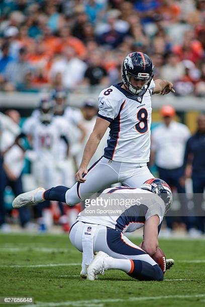 Denver Broncos Place Kicker Brandon McManus kicks a field goal during the NFL game between the Denver Broncos and the Jacksonville Jaguars on...