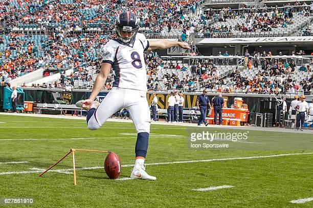 Denver Broncos Place Kicker Brandon McManus warms up during the NFL game between the Denver Broncos and the Jacksonville Jaguars on December 4 at...