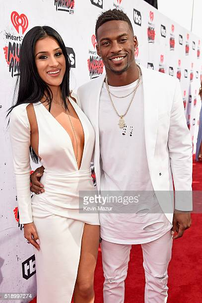 Denver Broncos player Emmanuel Sanders and Gabriella Waheed attend the iHeartRadio Music Awards at The Forum on April 3 2016 in Inglewood California