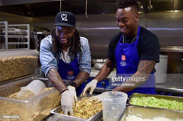Denver Broncos players Omar Bolden and Brandon Marshall laugh as they mix a batch of stuffing at the Harbor Light Center Denver Broncos teamed up...