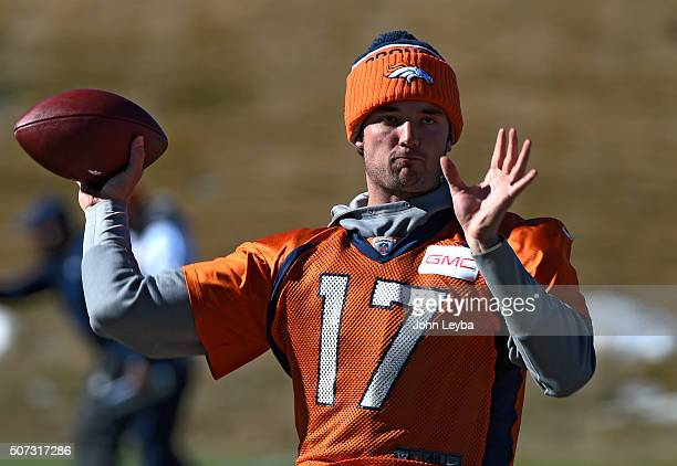 Denver Broncos quarterback Brock Osweiler throws a pass during practice January 28 2016 at UCHealth Training Center in preparation for Super Bowl 50...