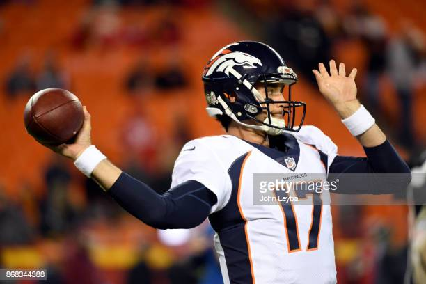 Denver Broncos quarterback Brock Osweiler warmups prior to the game against the Kansas City Chiefs on October 30 2017 in Kansas City MO at Arrowhead...
