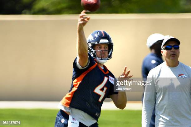 Denver Broncos quarterback Case Keenum on the first day of Broncos OTA's at the UCHealth Training Center in Englewood May 22 2018 Englewood Colorado