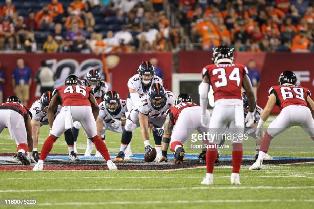 Denver Broncos quarterback Drew Lock calls out signals during the Hall of Fame Game between the Atlanta Falcons and the Denver Broncos played at Tom...