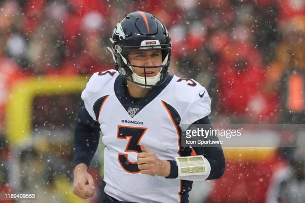 Denver Broncos quarterback Drew Lock in the first quarter of an AFC West game between the Denver Broncos and Kansas City Chiefs on December 15 2019...