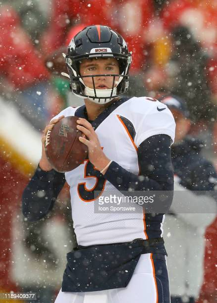 Denver Broncos quarterback Drew Lock looks to pass before an AFC West game between the Denver Broncos and Kansas City Chiefs on December 15 2019 at...