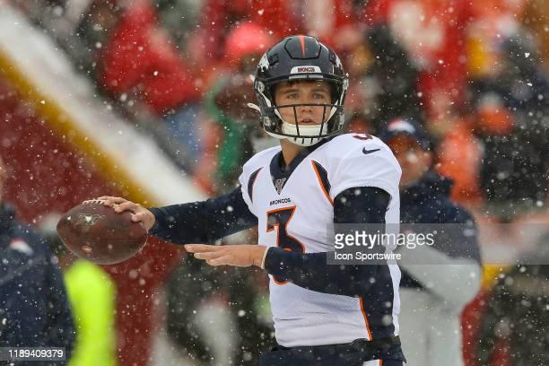 Denver Broncos quarterback Drew Lock throws a pass before an AFC West game between the Denver Broncos and Kansas City Chiefs on December 15 2019 at...