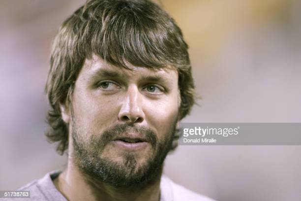 Denver Broncos quarterback Jake Plummer former teammate of Pat Tillman looks on during a halftime presentation in Tillman's honor at the Arizona...