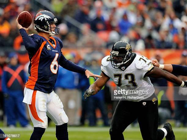 Denver Broncos quarterback Jay Cutler get pressure from Jacksonville Jaguars defensive tackle Jimmy Kennedy in the fourth quarter. The Denver Broncos...