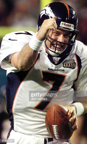 Denver Broncos quarterback John Elway celebrates after scoring a touchdown during second half action of Super Bowl XXXIII 31 January at Pro Player...