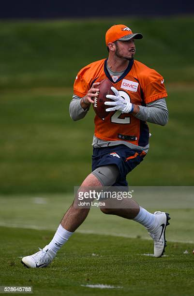 Denver Broncos quarterback Paxton Lynch drops back to pass during rookie minicamp May 6 2016 at UCHealth Training Facility