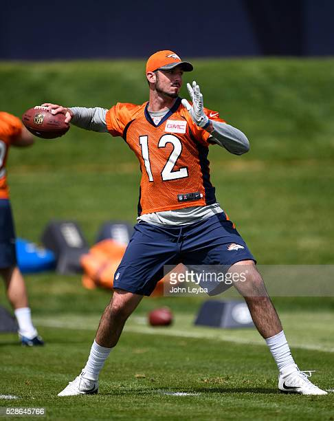 Denver Broncos quarterback Paxton Lynch looks to throw a pass during rookie minicamp May 6 2016 at UCHealth Training Facility