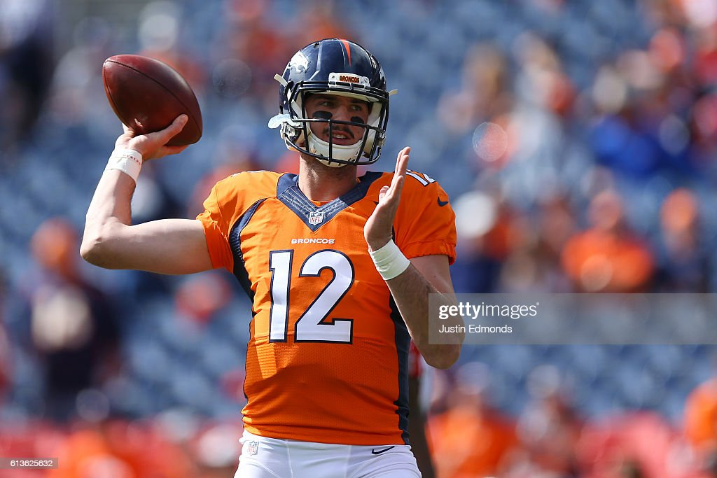 Denver Broncos quarterback Paxton Lynch #12 practices throwing before the game against the Atlanta Falcons at Sports Authority Field at Mile High on October 9, 2016 in Denver, Colorado.