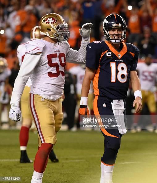 Denver Broncos Quarterback Peyton Manning Is Congratulated
