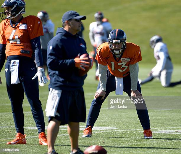 Denver Broncos quarterback Trevor Siemian bends over taking a break during practice October 20 2016 at Dove Valley as they prepare for the Houston...