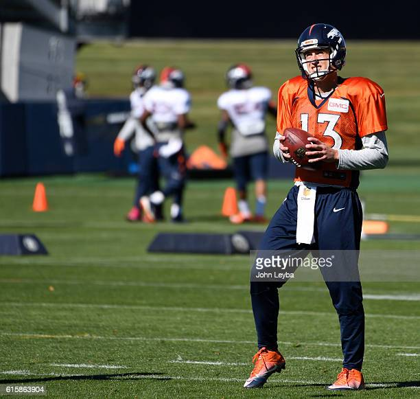 Denver Broncos quarterback Trevor Siemian looks on during practice October 20 2016 at Dove Valley as they prepare for the Houston Texans on Monday...
