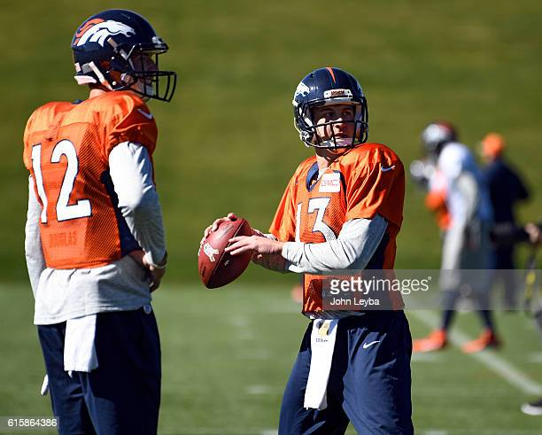 Denver Broncos quarterback Trevor Siemian throws a pass during practice October 20 2016 at Dove Valley as they prepare for the Houston Texans on...
