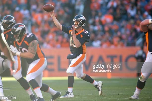 Denver Broncos quarterback Trevor Siemian throws during the New York Jets vs Denver Broncos football game at Sports Authority Field in Denver CO on...