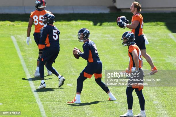 Denver Broncos quarterbacks Drew Lock and Teddy Bridgewater are in the team at UCHealth Training Center in Englewood, Colorado on Tuesday, June 1,...