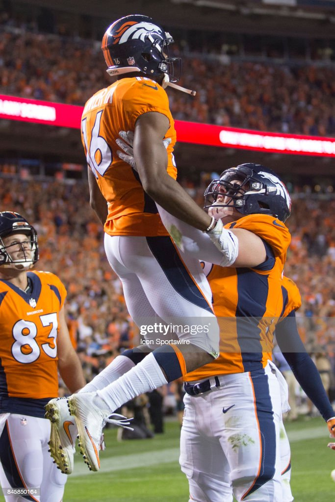 Denver Broncos receiver Bennie Fowler III (16) celebrates with offensive lineman Garett Bolles (72) after catching a touchdown during the first quarter of the NFL game between the Los Angeles Chargers and the Denver Broncos in September 11, 2017 at Sports Authority Field in Denver, CO.