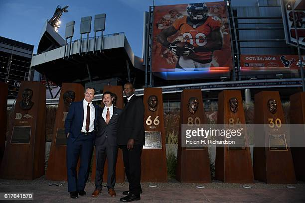Denver Broncos Ring of Fame inductees from left to right John Lynch #47 safety Jason Elam #1 kicker and Simon Fletcher #73 linebacker pose for a...