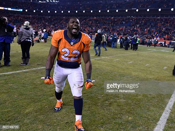 Denver Broncos running back CJ Anderson celebrates the teams overtime win over the Cincinnati Bengals 2017 December 28 2015 at Sports Authority Field...