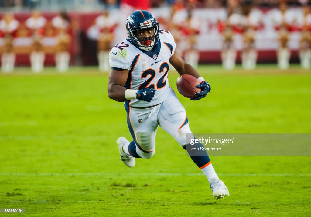 Denver Broncos running back C.J. Anderson (22) in the first half during the preseason game between San Francisco 49ers verses Denver Broncos at Levi's Stadium in Santa Clara,CA on August 19th, 2017