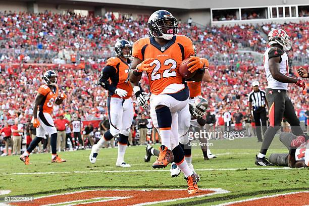 Denver Broncos running back CJ Anderson scores in the second quarter to make the score 137 against the Tampa Bay Buccaneers at Raymond James Stadium...