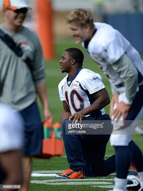 Denver Broncos running back Juwan Thompson was in sweat pants during practice October 8 2014 at Dove Valley