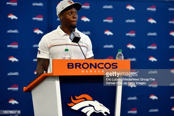 Denver Broncos running back Mike Boone answers questions after General Manager of the Denver Broncos George Paton introduced Boone and Broncos...