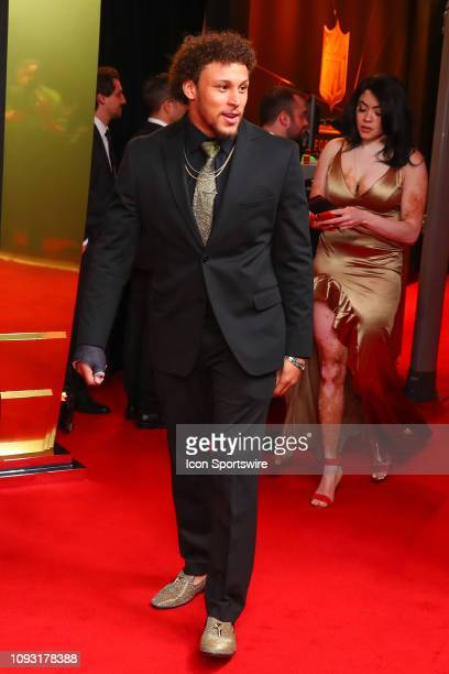 Denver Broncos running back Phillip Lindsay poses for photos on the red carpet at the NFL Honors on February 2 2019 at the Fox Theatre in Atlanta GA
