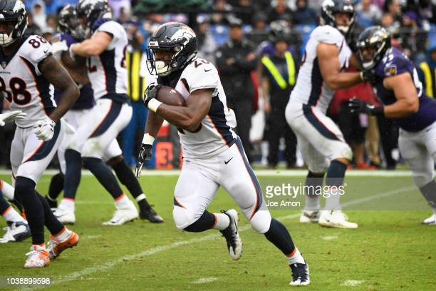 Denver Broncos running back Royce Freeman picking up yards against the Baltimore Ravens at M&T Bank Stadium on September 23, 2018 in Baltimore, MD.