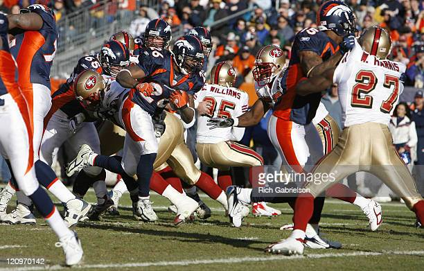 Denver Broncos running back Tatum Bell carries the ball in the red zone The San Francisco 49ers defeated the Denver Broncos by a score of 26 to 23 at...