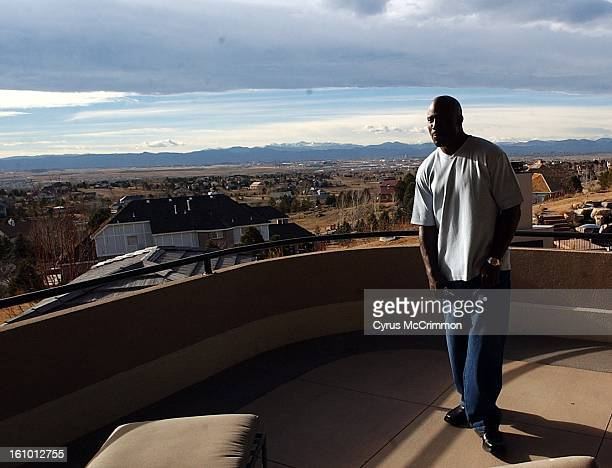 Denver Broncos running back Terrell Davis on the deck off of his bedroom of his neoclassical style home that is up for sell for $285 million The home...