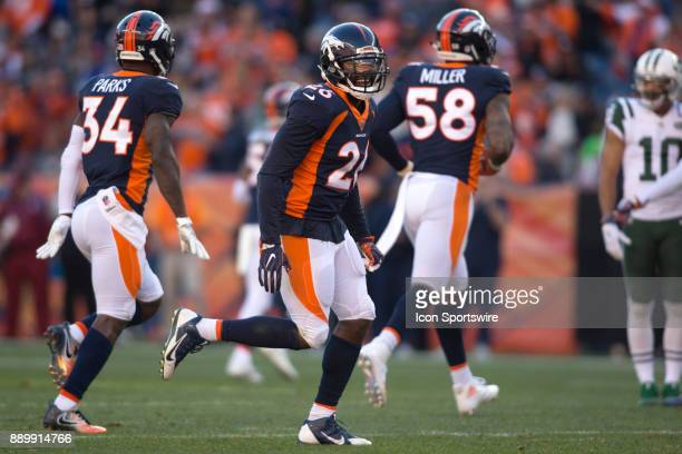 Denver Broncos safety Darian Stewart celebrates during the New York Jets vs Denver Broncos football game at Sports Authority Field in Denver CO on...