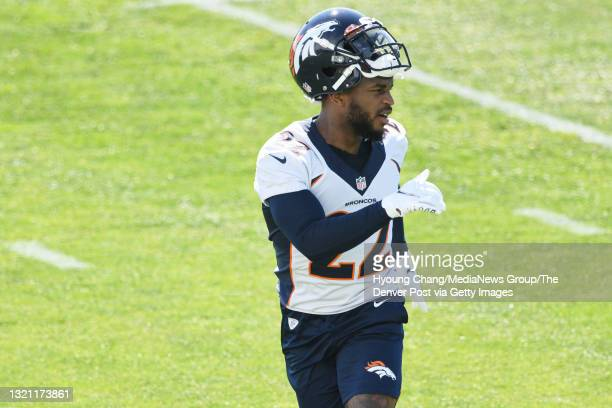 Denver Broncos safety Kareem Jackson is in the team practice at UCHealth Training Center in Englewood, Colorado on Tuesday, June 1, 2021.