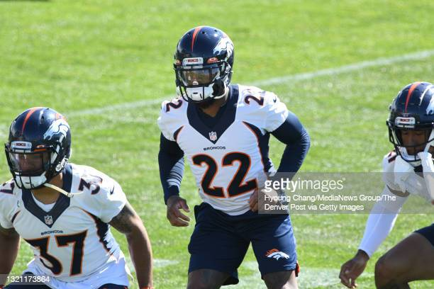 Denver Broncos safety Kareem Jackson warms up for the team practice at UCHealth Training Center in Englewood, Colorado on Tuesday, June 1, 2021.