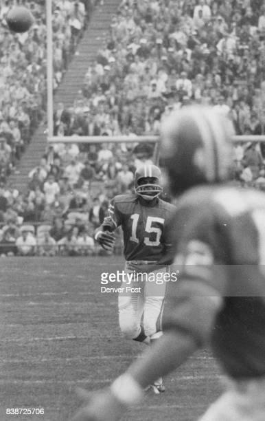 Denver Broncos Scene from Historic Performance Sunday at bears stadium Marlin Briscoe of Denver Broncos who became first Negro quarterback to perform...