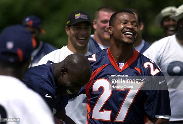 Denver Broncos Steve Atwater right leaves practice field after the last practice with the team at Broncos Head quarters on Friday