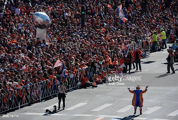 Denver Broncos super fan/icon Rocky the Lucky Leprechaun fires up the crowd before the Denver Broncos Super Bowl 50 celebration parade February 07...