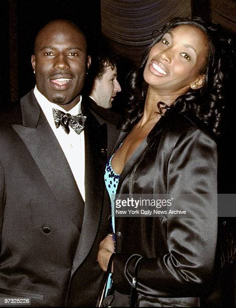 Denver Broncos' Terrell Davis gets together with model Beverly Peele at party at the Four Seasons following presentations of the Espy Awards Davis...