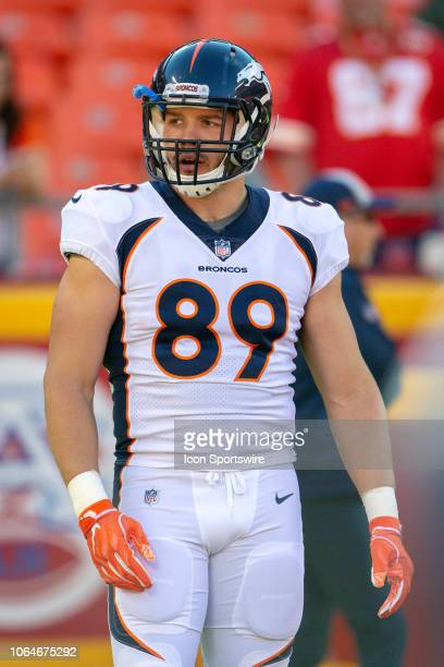 Denver Broncos tight end Brian Parker on the field during the NFL AFC West division football game against the Kansas City Chiefs on October 28 2018...