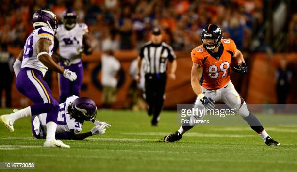 Denver Broncos tight end Brian Parker takes advantage of an opening and gains yards during the fourth quarter on Saturday August 11 at Broncos...