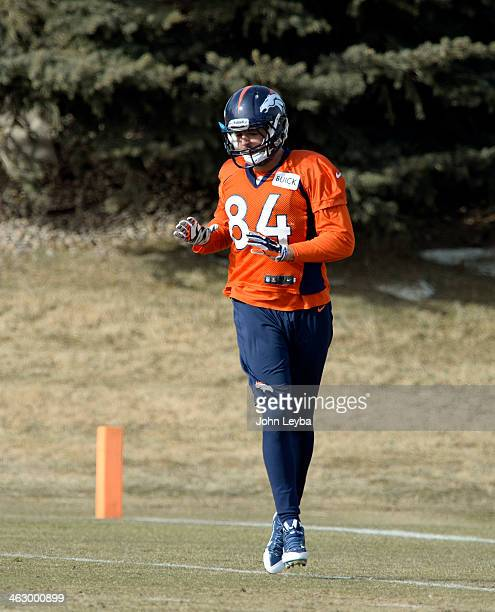 Denver Broncos tight end Jacob Tamme runs through drills during practice January 16, 2014 at Dove Valley. The Denver Broncos are preparing for their...