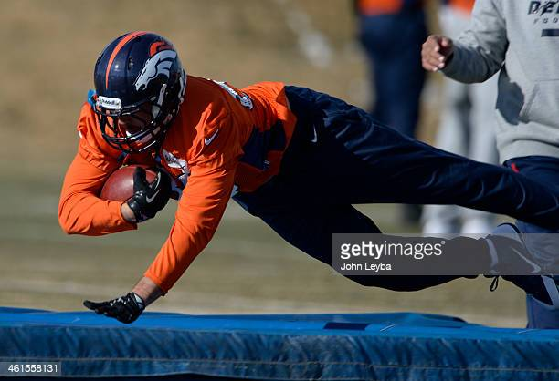 Denver Broncos tight end Jacob Tamme runs through drills during practice January 9 2014 at Dove Valley
