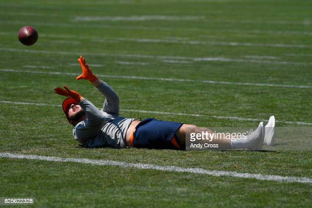 Denver Broncos tight end Jake Butt puts in some light drills after practice at Dove Valley August 02 2017
