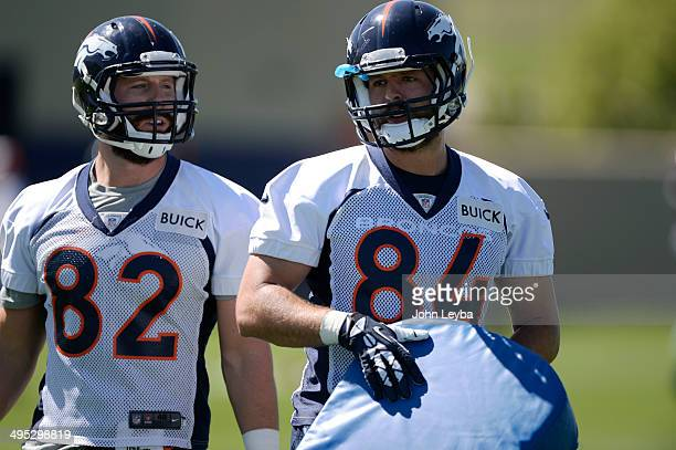 Denver Broncos tight ends Jameson Konz and Jacob Tamme run through drills during OTA's June 2, 2014 at Dove Valley.