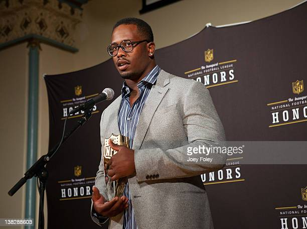 Denver Broncos' Von Miller talks to the press after receiving the AP Defensive Rookie of the Year at the 2012 NFL Honors at the Murat Theatre on...