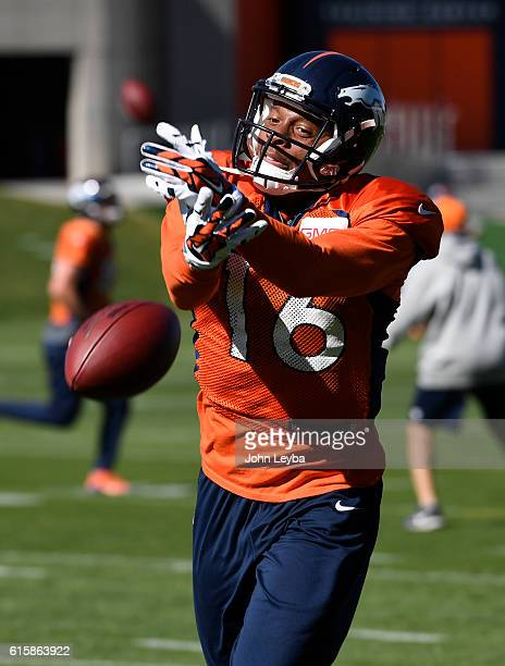 Denver Broncos wide receiver Bennie Fowler misses a pass during practice October 20 2016 at Dove Valley as they prepare for the Houston Texans on...