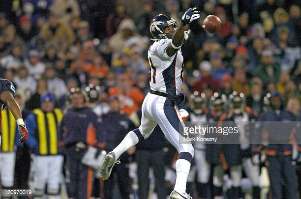 Denver Broncos wide receiver Charlie Adams attempts to catch a pass in a game against the Buffalo Bills at Ralph Wilson Stadium in Orchard Park, New...